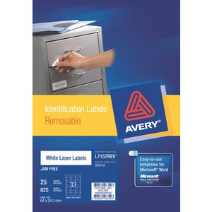 Avery Removable Labels 25 Pack