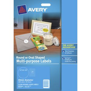 Avery Crystal Clear Round Multi Purpose Labels 10 Pack
