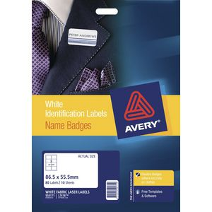 Avery Fabric Laser Name Badge Labels 10 Sheets 8 Per Page