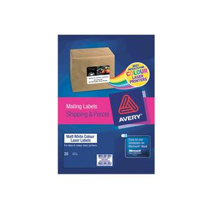 Avery Colour Laser Mailing Labels Matt 20 Sheets 14 Per Page