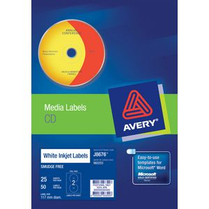 Avery Inkjet CD Labels Matt White 25 Sheets 2 Per Page