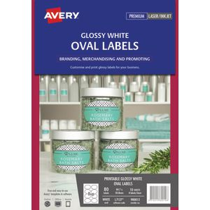 Avery Print-to-the-Edge Oval Labels Glossy White 80 Pack