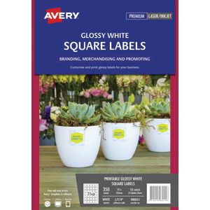 Avery Print-to-the-Edge Square Labels Gloss White 350 Pack