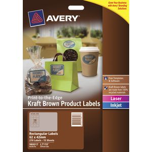 Avery Print To The Edge Rectangle Labels Kraft Brown 270 Pack