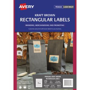 Avery Print-to-the-Edge Rectangle Labels Kraft Brown 270 Pack