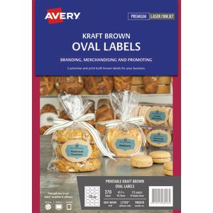 Avery Print-to-the-Edge Oval Labels Kraft Brown 270 Pack