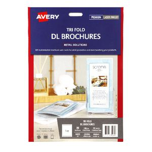 Avery Trifold DL Brochures 210 x 297mm 20 Pack