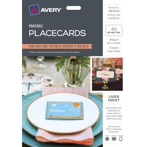Avery Place Cards 85 x 54mm 40 Pack