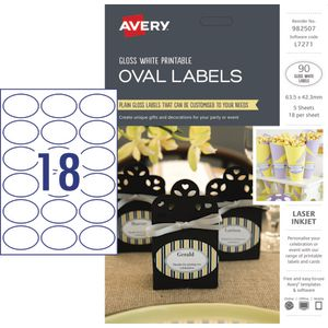 Avery Gloss Oval Labels 63.5 x 42.3mm 90 Pack