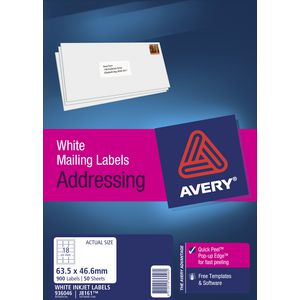 Avery Mailing Labels 50 Sheets 18 Per Page White