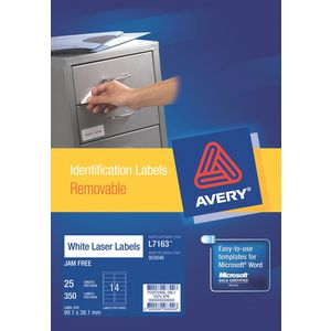Avery Removable Laser Labels 25 Sheets 14 Per Page