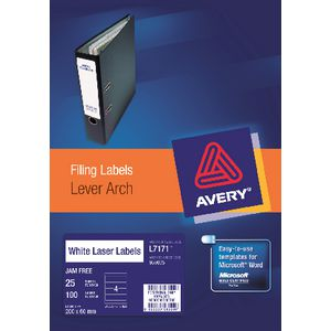 Avery Laser Lever Arch Labels White 25 Sheets 4 Per Page