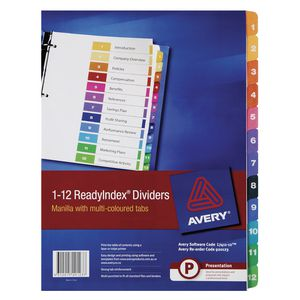 Avery Manilla Table of Contents Dividers with 12 Tabs