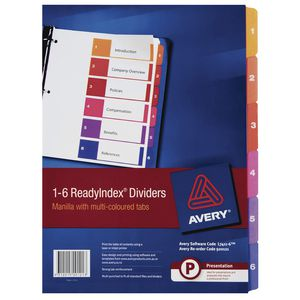 Avery Manilla Table of Contents Dividers with 6 Tabs