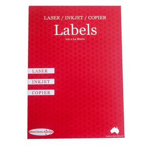 A4 Fluoro Pink Labels 2up 210mm X 148mm Pack/100