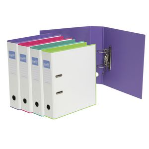 Bantex A4 Duets Lever Arch File White and Purple