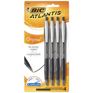 BIC Atlantis Retractable Ballpoint Pens Black 4 Pack