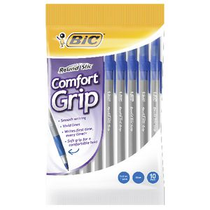 BIC Round Stic Comfort Grip Ballpoint Pens Blue 10 Pack
