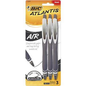 BIC Atlantis Air Retractable Ballpoint Pens Black 3 Pack
