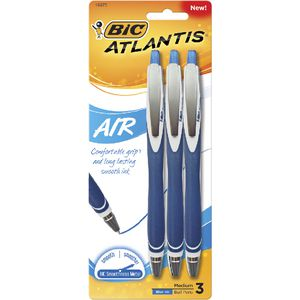 BIC Atlantis Air Retractable Ballpoint Pens Blue 3 Pack