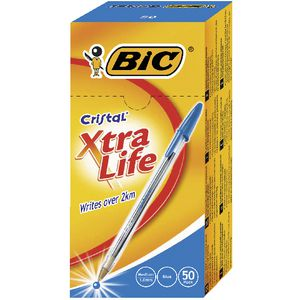 BIC Cristal Xtra Life Ballpoint Pens Blue 50 Pack