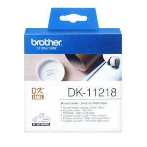 Brother DK-11218 Round Labels Black on White Paper