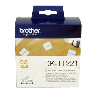 Brother DK-11221 Square Paper Labels 23mm Black on White