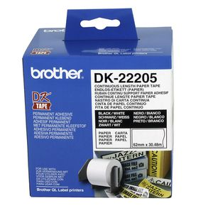 Brother DK-22205 Black on White Continuous Length Paper Tape