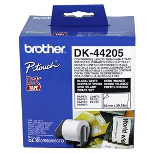 Brother DK-44205 White Removable Continuous Paper Roll - 62mm