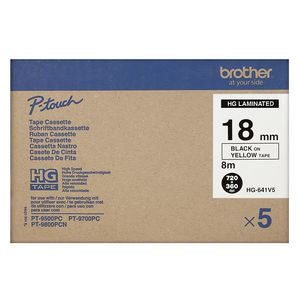 Brother HG-641V5 High Grade Black on Yellow 18mm Tape Pk/5