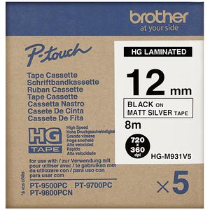 Brother HG-M931V5 Tape 12mm Black on Matte Silver 5 Pack