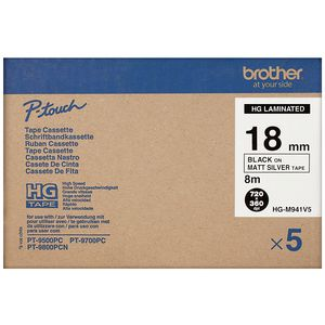 Brother HG-M941V5 Tape 18mm Black on Matte Silver 5 Pack