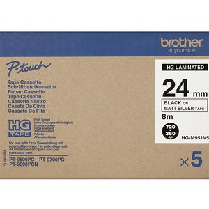 Brother HG-M951V5 Black on Matte Silver 24mm Tape Pk/5