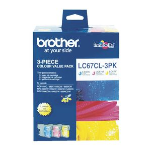 Brother LC-67 Tri-Colour Ink Value Pack