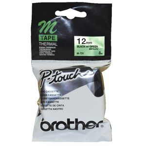 Brother M-731 Metallic Black on Green 12mm Tape
