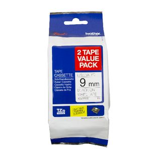 Brother Laminated Tape 9mm x 8m Black on White 2 Pack TZe-221