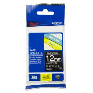 Brother Laminated Tape 12mm x 8m White on Black TZe-335