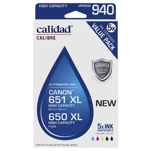 Calidad Alternative Canon 650/651 Ink Cartridge 5 Pack