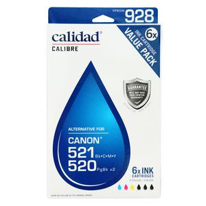 Calidad Alternative Canon 520 and 521 Ink Cartridges 6 Pack