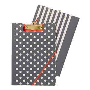 A4 Clipfolder Navy with Spots and Stripes