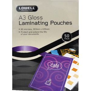 Lowell A3 Laminating Pouches 80 Micron 50 Pack