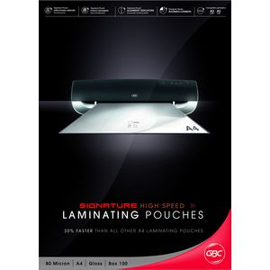 GBC High Speed Laminating Pouch A4 80 Micron Gloss 100 Pack
