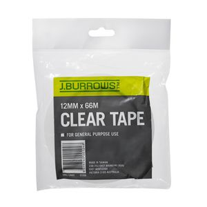 J.Burrows Clear Adhesive Tape 12mm x 66m