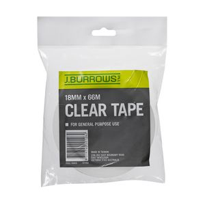 J.Burrows 18mm x 66m Clear Adhesive Tape