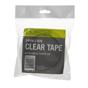 J.Burrows 24mm x 66m Clear Adhesive Tape