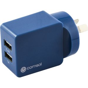 Comsol Dual Port USB Wall Charger 3.4A Blue