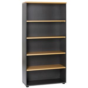 Velocity Bookcase 900 X 400 X 1800, Golden Beech Over Ironstone
