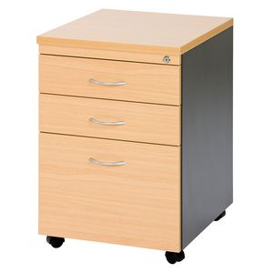 Velocity 3 Drawer Pedestal Golden Beech and Ironstone Grey