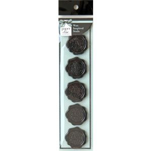Paper Chic Adhesive Seals Ebony Crest 5 Pack