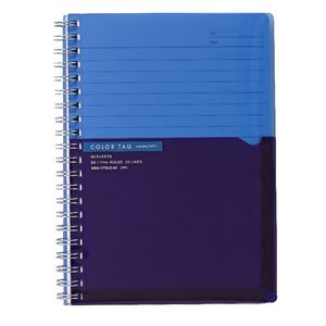 Kokuyo Color Tag B6 Twin Ring Notebook Bi-Color Blue